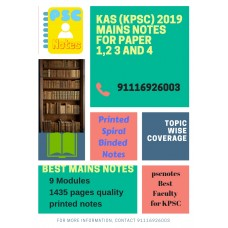 KPSC KAS Mains Complete Paper 1 2 3 and 4 Printed Spiral Binded Notes