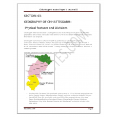 CGPCS Mains Paper V Section III(Chhattisgarh Geography)